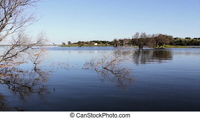 Alqueva - Lake landscape - Alqueva Dam lake. It impounds the...