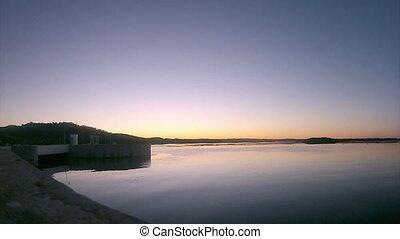 Alqueva - Twilight footage - Twilight in Alqueva Dam lake....