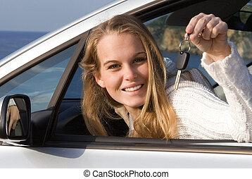 alquilar, mujer, coche, actuación, llave, nuevo, alquiler, o