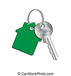alquiler, bienes raíces, propiedad, casa verde, engañar, anillo, venta, concepto, llave, compra