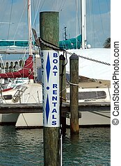 alquiler, señal, barco