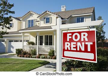 alquiler, signo bienes raíces, delante de, casa