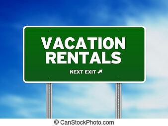 alquileres, señal, camino, vacaciones, -, verde