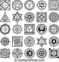 alquimia, conjunto, magia, sigils, vectors