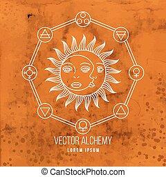 alquimia, símbolo, vector, geométrico