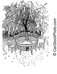 alrededor, cómodo, jardín, sombreado, esquina, árbol, ilustración, vendimia