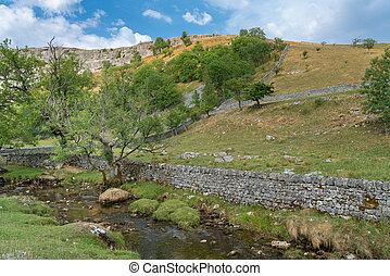 alrededor, campo, parque nacional, ensenada, malham, valles...