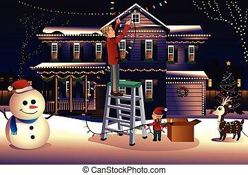 alrededor, casa, padre, arriba, hijo, luces, poniendo, navidad