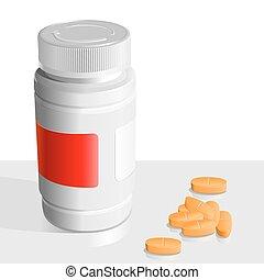 alrededor, drogas, naranja, vector, tabletas, bancos