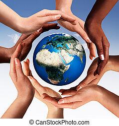 alrededor, glob, juntos, multiracial, manos, mundo, círculo, elaboración