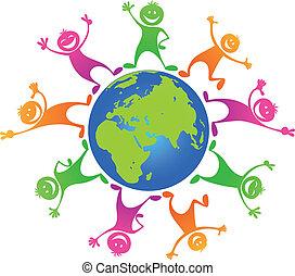 alrededor, niños, planeta