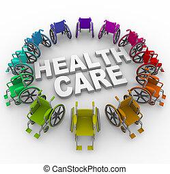 alrededor, salud, palabras, sillas de ruedas, anillo, cuidado