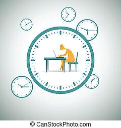 alrededor, trabajando, reloj