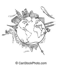 alrededor, viaje, whiteboard, mundo, sueño, dibujo