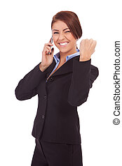 business woman receiving only good news on mobile phone