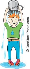 ALS Ice Bucket Challenge concept. Man pour bucket of ice...