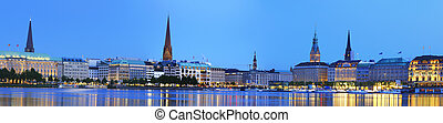 Alster panorama - Panorama picture of the Binnenalster in...