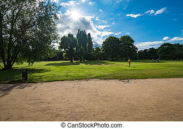 Alster Park in Hamburg Germany on a summer day