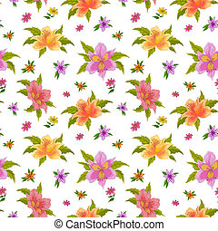 Alstroemeria, seamless - Flower vector seamless background,...