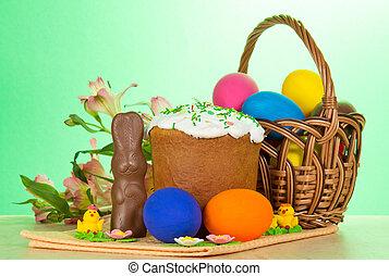 alstromeria, oeufs, paques, gâteau, lapin