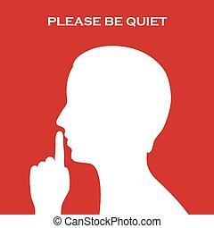 alstublieft, zijn, stille , meldingsbord
