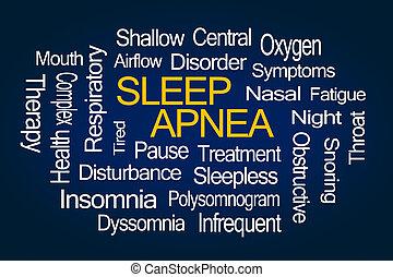 alszik, apnea, szó, felhő