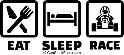 alszik, versenyzés, eszik, kart