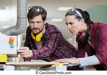 altérer, machine, travail bois, homme, paramètres