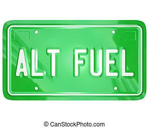 Alt Fuel Alternative Power Energy Green LIcense Plate