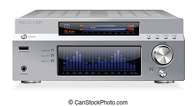 alta-fidelidade, sinal, áudio, receptor, amplifi