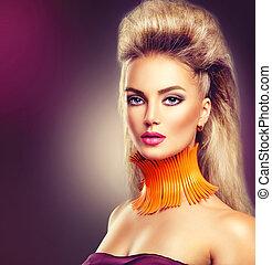 alta moda, modello, ragazza, con, mohawk, acconciatura, e,...