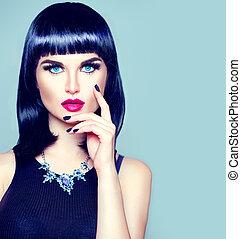 alta moda, modello, ragazza, ritratto, con, trendy, frangia, acconciatura, trucco, e, manicure