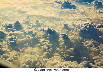 alta sol, nuvens, acima, vista