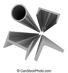 alta tecnologia, fondo, -, alluminio, profili