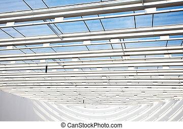 alta tecnologia, interno, di, uno, moderno, costruzione ufficio