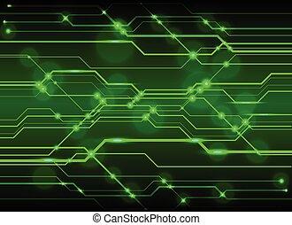 alta tecnologia, tábua circuito, fundo, tecnologia, verde, circuito, abstratos, fundo