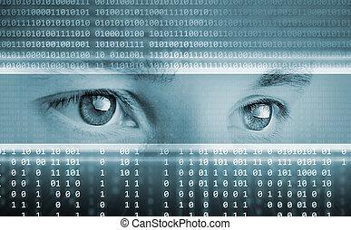 alta tecnologia, tecnologia, fundo, com, olhos, ligado,...