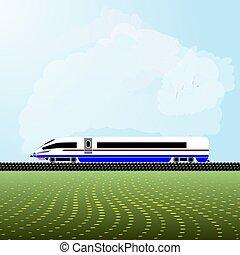 alta velocidade, azul, nuvens, illustration., experiência., luz, trem, céu, realístico, vetorial, branca, locomotiva