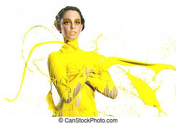 alta velocidade, fotografia, de, mulher, com, líquido, pintura