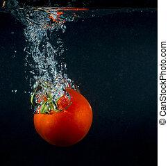 alta velocidade, fotografia, tomate, respingo, em, água