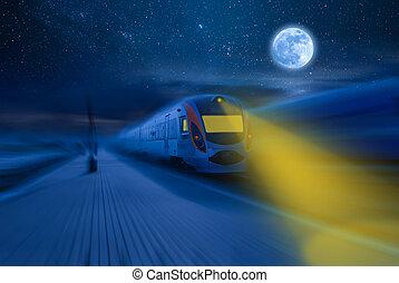 alta velocidade, noturna, trem