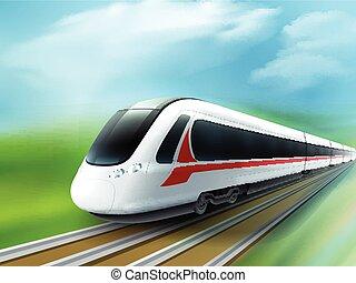 alta velocidade, realístico, imagem, trem, dia