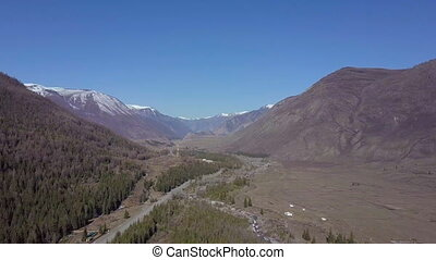 Altai mountains. Beautiful highland landscape. Russia. Siberia. Flight on quadcopter. Top view