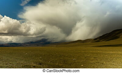 Altai mountains. Beautiful highland landscape. Russia Siberia. Timelapse