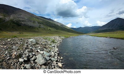 Altai mountains. River Dara. Beautiful highland landscape....