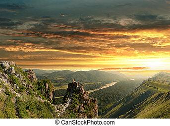 altai, pôr do sol, montanhas