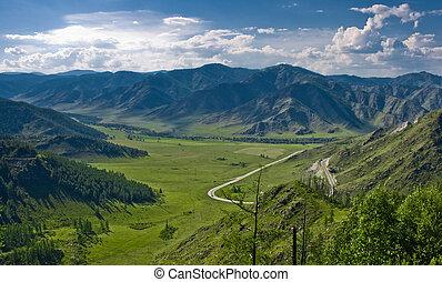 altai, verde, passare, valle, russia, vista