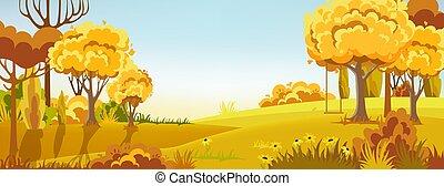 altalena, autunno, forest., colors., riscaldare, peisage, ramo, albero