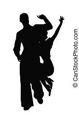 altalena, ballerini, in, silhouette