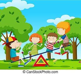 altalena, parco, gioco, bambini